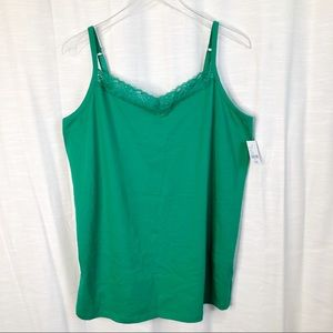 NWT CATHERINES Suprema Lace Cami Green